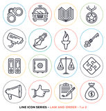 Law and order line icons set Stock Photography