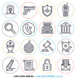 Law and order line icons set Royalty Free Stock Image