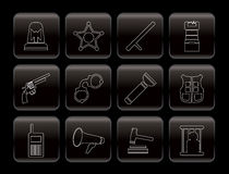 Law, order, police and crime icons Royalty Free Stock Photos