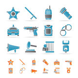 Law, order, police and crime icons Royalty Free Stock Images