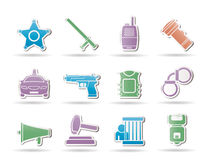 Law, order, police and crime icons Stock Photography