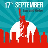 Law and order 17 september background, flat style. Law and order 17 september background. Flat illustration of law and order 17 september background for web vector illustration