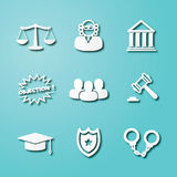 Law paper art icons. Vector elements design Stock Photos