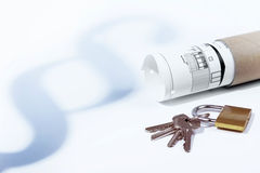Law, paragraph, tenancy law, padlock and keys, building law, construction plan Stock Photography