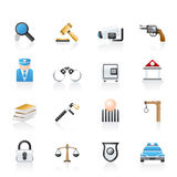 Law, Police and Crime icons Stock Photo