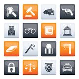 Law, Police and Crime icons over color background stock photo