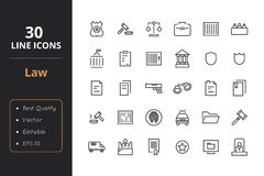 30 Law and Police Icons. High quality law line icons. Icons for user interfaces and web Royalty Free Stock Photo