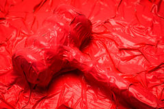 Law Red Tape. Judge Gavel Completely Covered In Red Tape Close Up Royalty Free Stock Photography