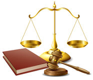 Law related object set. With book, gavel and scale of justice Royalty Free Stock Photo