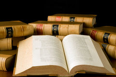 Law Reports. Old law reports with one book open Royalty Free Stock Image