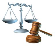 Law scale and judge mallet (clipping path). Scale of justice and judge mallet law icons Royalty Free Stock Photography