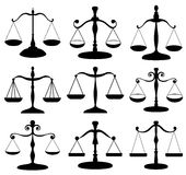 Law scale symbol set. Law scale black symbol set isolated on white Royalty Free Stock Image
