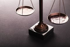 Law scales. Justics scale weighing old lawyer litigation stock images