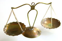 Law scales. Symbol of justice isolated Stock Images