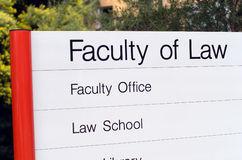 Law School. Sign on University campus Royalty Free Stock Photo