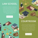 Law school isometric flyers set. Law school isometric flyers with justice symbols. Judge gavel, jury trial, oath of bible, law books, courthouse building Royalty Free Stock Photo