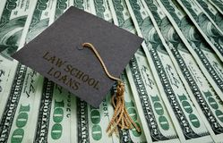 Law School loans. Graduation cap on assorted hundred dollar bills - student loan concept Royalty Free Stock Photography