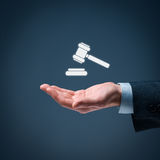 Law services. Lawyer (advocate, jurist) grant legal aid. Law represented by judicial gavel icon stock photography