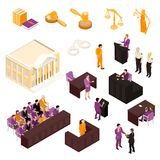 Law Set Isometric. Law isometric icons collection with justice court building gavel judge witness defendant police officers isolated vector illustration Royalty Free Stock Photography
