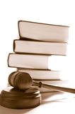 Law stack. Judges legal gavel and stacked law books Royalty Free Stock Photography