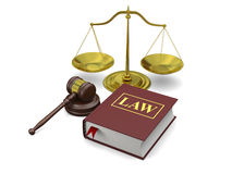 Law symbols. Gavel, scale and law book,  on white background, symbols of law and justice Royalty Free Stock Image