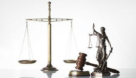 Law theme. Law symbols  on white background. Gavel, scale and Themis Royalty Free Stock Images