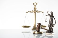 Law theme. Law symbols  on white background. Gavel, scale and Themis Stock Photography
