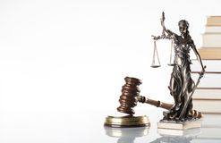 Law theme. Law symbols  on white background. Gavel and Themis Royalty Free Stock Image
