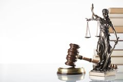 Law theme. Law symbols  on white background. Gavel and Themis Stock Images