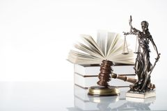 Law theme. Law symbols  on white background. Gavel and Themis Royalty Free Stock Images