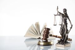 Law theme. Law symbols  on white background. Gavel and Themis Stock Photos