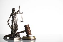 Law theme. Law symbols  on white background. Themis, gavel Stock Photography