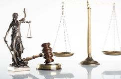 Law theme. Law symbols  on white background. Themis, gavel and scale Stock Photo