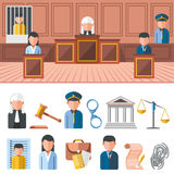 Law system banner, icon set Stock Photography