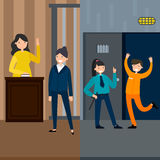 Law System Vertical Banners. With female witness lawyer in court session and defendant getting out of jail vector illustration Royalty Free Stock Photo