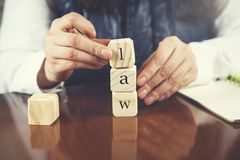 Law text on wooden cubes royalty free stock image