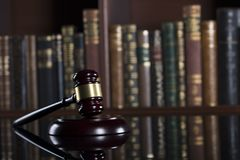 Law theme – court library. Gavel of the jugde in the court library Stock Photo