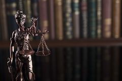Law theme – court library. Statue of justice in the court library Royalty Free Stock Image