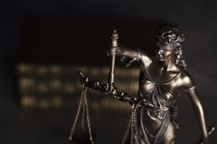 Law theme. Blind justice symbol - Themis. Law code. Statue of justice and  books. Dark  background. Place for text Stock Photo