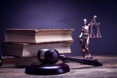Law theme, books, temida and law code Stock Image