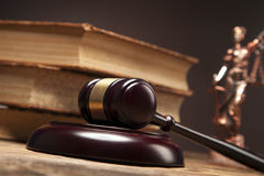 Law theme, books, temida and law code Stock Photos