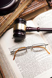 Law theme, books, temida and law code Stock Image