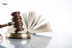 Law theme. Law symbols  on white background. Gavel Royalty Free Stock Images
