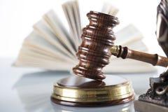 Law theme. Law symbols  on white background. Gavel Royalty Free Stock Photography