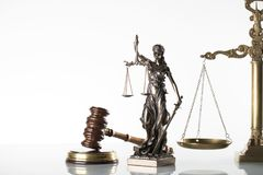Law theme. Law symbols  on white background. Gavel, scale and Themis Royalty Free Stock Photos