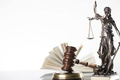 Law theme. Law symbols  on white background. Gavel and Themis Royalty Free Stock Photography