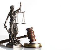 Law theme. Law symbols  on white background. Gavel and Themis Royalty Free Stock Photos
