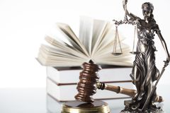 Law theme. Law symbols  on white background. Gavel and Themis Royalty Free Stock Photo