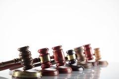 Law theme. Law symbols  on white background. Gavels Royalty Free Stock Photo