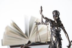 Law theme. Law symbols  on white background. Themis Royalty Free Stock Photo